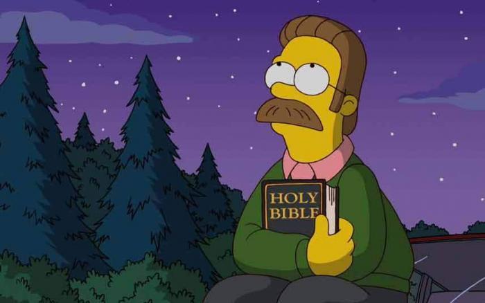 Ned Flanders v Simpsonových ztělesňuje víru.