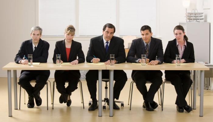 přijímací komise u pohovoru